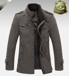 Online Shop New Style Autumn and Winter Jackets For Men Splice Wool Jacket men's slim fit thickening Outerwear Mens Coat Winter Overcoat Man's Overcoat, Winter Overcoat, Mens Winter Coat, Fall Winter, Tweed Coat, Herren Outfit, Fashion Mode, Bold Fashion, Urban Fashion