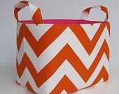 Fabric Organizer Storage Container Basket Bin -Orange and White Chevron