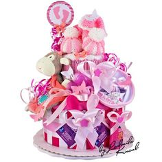 2 Tier Baby Girl Nappy cake made from Pampers nappies, knitted pattern included, burp cloth, comforter, flannels, bibs, toy, baby spoons Baby teether, Babytee, baby care (wet wipes and shower cream) & decor item