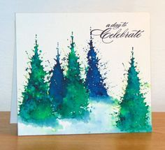 Sapins Brusho bleu et vert by Micheline Jourdain - Cards and Paper Crafts at Splitcoaststampers Painted Christmas Cards, Watercolor Christmas Cards, Diy Christmas Cards, Watercolor Cards, Xmas Cards, Christmas Art, Handmade Christmas, Watercolor Images, Paint Cards