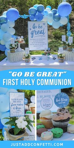 """This first holy communion celebration is filled simple party ideas, favors and party printables. I love the verse Joshua 1:9 & sentiment of """"Go Be Great"""" for a first communion party. Head to justaddconfetti.com for even more party ideas! All of the printables from this party are available in my Just Add Confetti Etsy Shop too."""