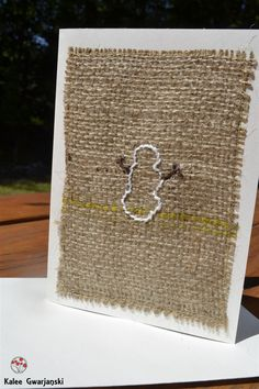 Christmas Greeting Card Burlap Snowman 4 x 5.5 by KaleeGwarjanski, $5.00