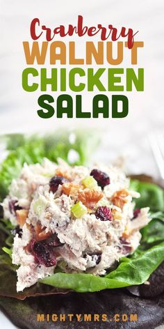 This Cranberry Walnut Chicken Salad recipe aka Waldorf chicken salad ismade with dried cranberries (craisins), walnuts, rotisserie chicken, mayo (or substitute greek yogurt), celery, and Dijon mustard. Serve over greens or in a wrap for a healthy lunch. Also tastes great served on a croissant as sandwich. Perfect for bridal or baby shower brunch menu item. This easy recipe is made using just 6 ingredients. Easy Salad Recipes, Brunch Recipes, Breakfast Recipes, Brunch Menu, Healthy Recipes, Best Chicken Recipes, Chicken Salad Recipes, Cranberry Walnut Chicken Salad, Rotisserie Chicken Salad