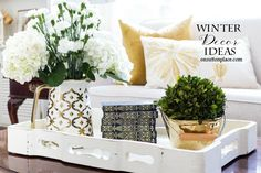 Easy Neutral Winter Decor Ideas | Inspiration to make your home cozy and inviting during the winter months. Includes metals, texture and natural elements.