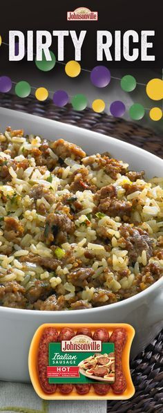 Dirty Rice Crowd favorite and conversation starter for this easy and delicious Cajun recipe! Comfort food at its best – sausage, rice, and other tasty herbs and spices. Sausage Recipes, Pork Recipes, Casserole Recipes, Mexican Food Recipes, Cooking Recipes, Healthy Recipes, Delicious Recipes, Easy Cajun Recipes, Comfort Food Recipes
