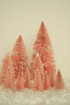vintage-y, glitter-y christmas trees in pink