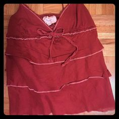 EUC ruffled cotton tank!  Darling red cotton tank with adjustable spaghetti straps! Super cute with jeans or shorts! Amazing top for Spring!! Well loved!  Abercrombie & Fitch Tops Tank Tops