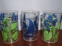 3 Vintage Swanky Swigs~2 With Blue Flowers~1 With Blue Sail Boat