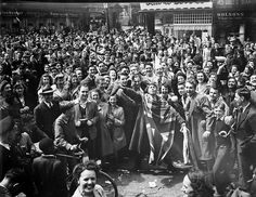 Canada. Crowd celebrating VE Day in Montreal, Quebec, May 8, 1945.