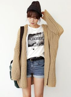 <3 oversized woolly cardigan for summer-fall look