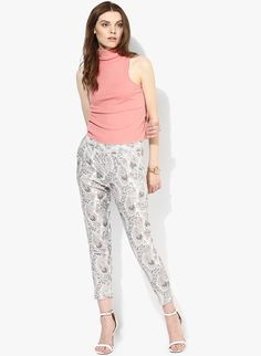 Buy De Moza Off White Printed Chinos for Women Online India, Best Prices, Reviews   DE308WA98OFXINDFAS
