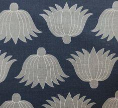 Double Lotus in Indigo/Stone by Alex Conroy #alexconroy #geometric #linen #fabric #textile #designinspiration #navy #indigo #clothandkindinteriordesign