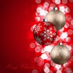Merry Christmas Red Background with Ornaments