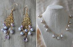 purple chandelier earrings, purple pearl necklace