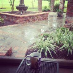 Coffee 365:  This morning I'm drinking Community Coffee Dark Roast in a Louisiana State University mug while enjoying a rainy Baton Rouge morning on my in-law's patio.