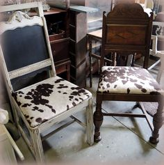 Custom designed antique chairs with cowhide