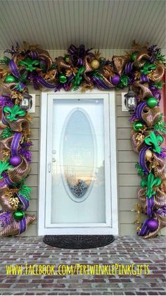 Mardi Gras Door Surround - Designer Shannon  Mardi Gras Wreath & Teardrops www.facebook.com/PeriwinklePinkGifts https://www.etsy.com/shop/PeriwinkleSilks