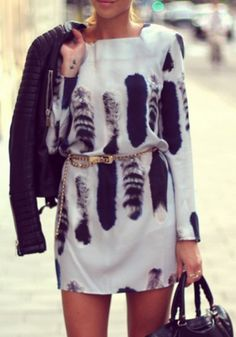 White Tail Print Backless Sexy Mini Dress