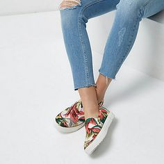 White floral plimsolls - plimsolls / trainers - shoes / boots - women