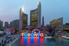 Our TORONTO sign lighting up City Hall during the 2015 Pan Am games, hosted by Toronto. All About Canada, Stuff To Do, Things To Do, Toronto Ontario Canada, Toronto Travel, Pan Am, Sign Lighting, Downtown Toronto, Art And Architecture