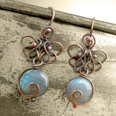 Love the style of the wrapped loop on these. ~ Butterfly Earrings Labradorite Contemporary Artisan Wire Jewelry