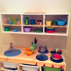 DIY play kitchen using Trofast series from Ikea, and a few other things Diy Play Kitchen, Ikea Kitchen, Built In Storage, Toy Storage, Ikea Trofast Storage, Montessori Toddler Rooms, Baby Play Areas, Kids Room Design, Kid Spaces