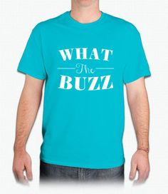WHAT THE BUZZ Graphic Tee in Blue/White
