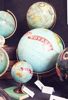 @Alina @ My Yellow Umbrella, we were just discussing your globe collection the other night.   I've always loved globes and maps... these are creative.