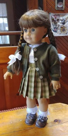 BLUE PLAID SCHOOL JUMPER//BLOUSE//SHOES//SOCKS//NECKLACE FITS AMERICAN GIRL DOLLS #1