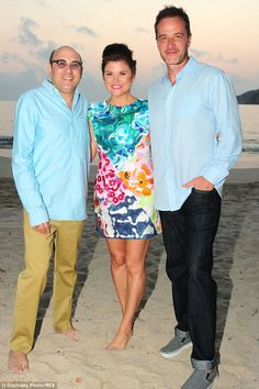 Workmates: Joining in the fun was Tiffani (Thiessen)'s White Collar co-stars (L-R) Willie Garson and Tim Dekay
