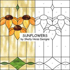 Stained glass Sunflowers or Black-Eyed Susan PATTERN, Arts &.-Stained glass Sunflowers or Black-Eyed Susan PATTERN, Arts & Crafts Style, for stained glass or mosaic. Stained Glass Patterns Free, Stained Glass Designs, Stained Glass Projects, Free Mosaic Patterns, Paver Patterns, Mosaic Projects, Art Projects, Broken Glass Art, Sea Glass Art