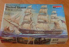 Complete, Unused 1977 Monogram Model Kit of Historic Frigate United States Ship…