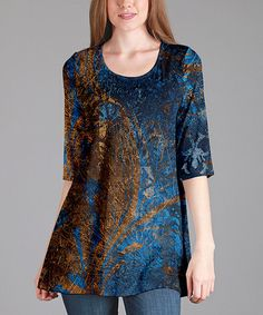 Blue & Gold Abstract Scoop Neck Tunic - Plus Too #zulily #zulilyfinds
