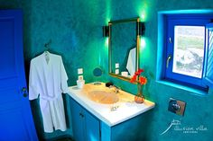 santorini, private villa, akrotiri, blue bathroom, relaxation, fresh design