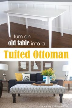 DIY Tufted Fabric Ottoman ((...from an old table))