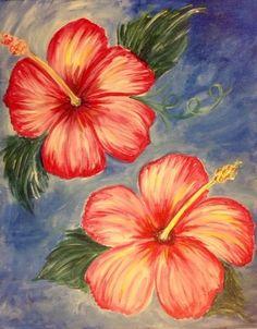 Hibiscus flowers painting. Beginner painting idea. Paint Nite.