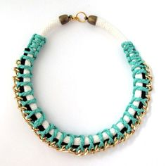 Mint and Navy Collar Necklace