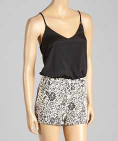 Another great find on #zulily! Black & White Paisley Romper #zulilyfinds