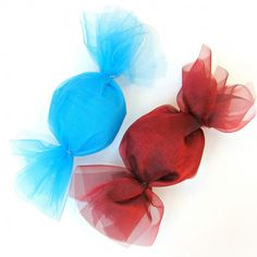 Candy Decorations-red, white, green or blue and silver. Whatever colors you're using this year, these will work on a wreath or in a big basket on the porch or wherever.