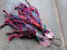 Earthen Wear III - Bohemian Earrings of Embossed Copper Ovals, Czech Glass Beads and Multi-color Recycled Sari Yarn Tassels Gypsy