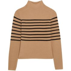 Topshop Unique Broadwick striped wool and cashmere-blend sweater (940 BRL) ❤ liked on Polyvore featuring tops, sweaters, brown, brown striped sweater, brown tops, stripe sweater, beige sweater and beige top