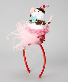 Gives me an idea.  Find an ornament and stick it on a headband.                    Take a look at this Red & White Snowman Cupcake Headband by Enchanted Fairyware Couture on #zulily today!