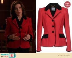 Alicia's red blazer with black trim on The Good Wife. Outfit Details: http://wornontv.net/21805 #TheGoodWife