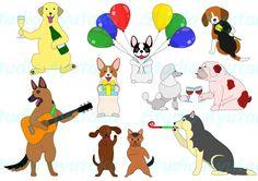 Etsy のSet of cute and funny partying dogs(ショップ名:StudioAyutaka)