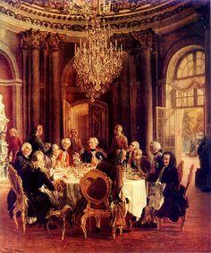 Voltaire na corte de Frederico II da Prússia. Pintura de Adolph Menzel, 1850.