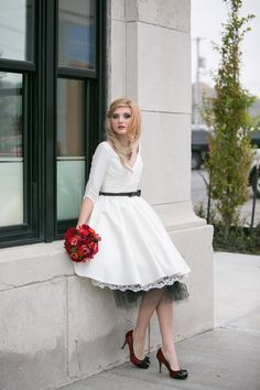 Short Wedding Dress with Sleeves and by thepeppermintpretty