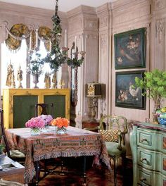 Home of Iris Arpel - this room is so eclectic and wonderfully styled.