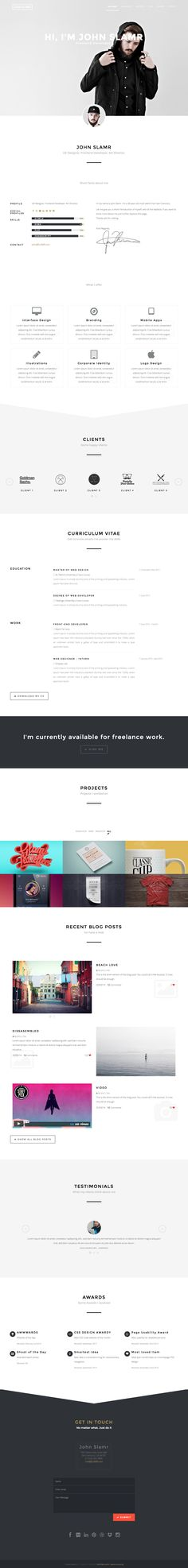 'Slamr' is a slick CV-style One Page HTML template. The long scrolling responsive template can also easily be used for a portfolio featuring AJAX-loading project items. Other features include slideshow header, video background, work history, awards, portfolio category filter, testimonial slider and a footer contact form.