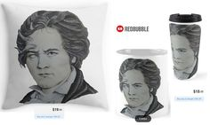 'Roll over Beethoven' Throw Pillow, Mug and Travel Mug #artbyurte