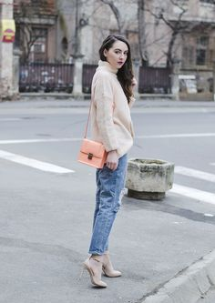 Distressed. Zara sweater Front Row Shop Ripped Jeans Zara Heels H&M Bag.